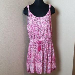 Lucky Brand Tie Waist Twist Shoulder Pink Dress